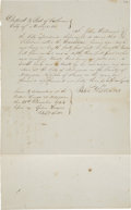 "Transportation:Nautical, [Republic of Texas] John Williams Shipwright's Affidavit Signed. Two pages, front and verso, 8"" x 13"", December 21, 1843, Ma..."