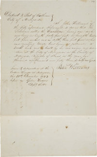 "[Republic of Texas] John Williams Shipwright's Affidavit Signed. Two pages, front and verso, 8"" x 13"", Decembe..."
