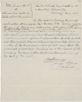 "Autographs:Statesmen, [Republic of Texas] Richard Morris Admiralty Court Order Signed.One page, 8"" x 10"", ""February Term 1843"", [Galveston]. ..."