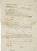 "Autographs:Statesmen, [Republic of Texas] William Fairfax Gray Partially Printed SignedLand Deed. Two pages, front and verso, 8"" x 10.75"", Octobe..."
