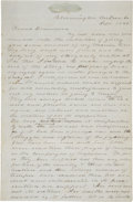 "Military & Patriotic:Pre-Civil War, Mexican War Letter. Great content autograph letter signed, four full pages, 8"" x 12"", September 1848, Bloomington, McLean Co..."