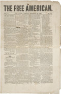 """Miscellaneous:Ephemera, The Free American Bilingual Mexican Newspaper. Four pages(two in English and two in Spanish), 11"""" x 16.75"""", Feb..."""