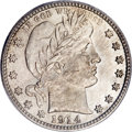 Barber Quarters, 1914-S 25C MS65 PCGS....