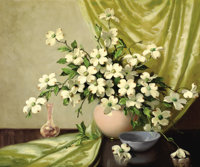 A.D. GREER (American, 1904-1998) Floral Still Life, Dogwood Oil on canvas 30 x 36 inches (76.2 x