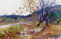 Texas:Early Texas Art - Regionalists, ROSE CAROLYN HARPHAM (American, 1910-1969). AutumnLandscape, 1927. Oil on board. 12 x 17-3/4 inches (30.5 x 45.1cm). S...