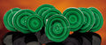 Minerals:Cabinet Specimens, SET OF NINE MALACHITE 'BULLS-EYE' SLICES . ...