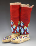 American Indian Art:Beadwork and Quillwork, A PAIR OF NEZ PERCE BEADED HIDE MOCCASINS AND BEADED CLOTHLEGGINGS. c. 1910... (Total: 2 Items)