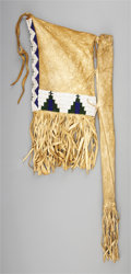 American Indian Art:Beadwork and Quillwork, A PLAINS BEADED HIDE TOBACCO BAG. c. 1900. ...