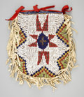 American Indian Art:Baskets, A SIOUX BEADED HIDE POUCH. c. 1910...
