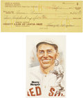 Autographs:Checks, 1964 Harry Hooper Signed Personal Check and Perez-Steele Postcard....