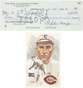 Autographs:Checks, 1961 Eppa Rixey Signed Personal Check with Perez-SteelePostcard....