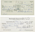 Autographs:Checks, 1962-64 Lefty Grove Signed Personal Checks Lot of 2....