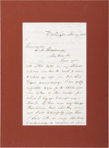 "Autographs:U.S. Presidents, Millard Fillmore Autograph Letter Signed as the thirteenthpresident of the United States. One and one-half pages, 5"" x 8"",..."