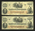 Confederate Notes:1862 Issues, T41 $100 1862. Two Consecutive Examples.. ... (Total: 2 notes)