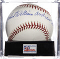 Autographs:Baseballs, Robert William Andrew Feller Single Signed Baseball PSA Mint 9....