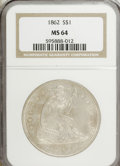 Seated Dollars: , 1862 $1 MS64 NGC. NGC Census: (25/2). PCGS Population (12/3).Mintage: 11,500. Numismedia Wsl. Price for NGC/PCGS coin in M...
