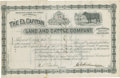 Western Expansion:Cowboy, Cattle Stock Certificate, Lincoln County, New Mexico Territory,1885. ...