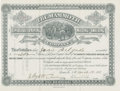 Western Expansion:Cowboy, The Mammoth Consolidated Mining, Milling, and Smelting CompanyStock Certificate, Santa Fe, New Mexico Territory, 1881....