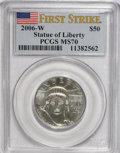 Modern Bullion Coins, 2006-W $50 Platinum First Strike MS70 PCGS. PCGS Population(329/0). NGC Census: (0/0). Numismedia Wsl. Price for NGC/PCGS...