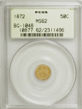 California Fractional Gold: , 1872 50C Indian Round 50 Cents, BG-1048, Low R.4, MS62 PCGS. PCGSPopulation (24/60). NGC Census: (5/11). (#10877)...