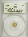 California Fractional Gold: , 1880 25C Indian Octagonal 25 Cents, BG-799K, R.6, MS63 PCGS. PCGSPopulation (3/14). (#10637)...