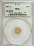California Fractional Gold: , 1854 50C Liberty Octagonal 50 Cents, BG-308, R.4, MS62 PCGS. PCGSPopulation (32/20). NGC Census: (6/3). (#10428)...