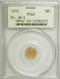 California Fractional Gold, 1872 50C Liberty Round 50 Cents, BG-1013, Low R.6, MS62 PCGS. PCGSPopulation (2/7). NGC Census: (1/1). (#10842)...