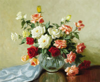 A.D. GREER (American, 1904-1998) Mixed Roses Oil on canvas 30 x 36 inches (76.2 x 91.4 cm) Sig