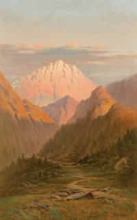 FREDERICK DEBOURG RICHARDS (American, 1822-1903) Western Mountains Oil on canvas 21-1/2 x 13-1/2