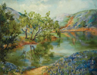ANNIE LEE ANDRESS (American, 20th Century) River Scene with Bluebonnets, 1930 Oil on canvas 24 x