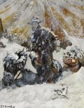 Western:20th Century, R. FARRINGTON ELWELL (American, 1874-1962). Western Snow. Mixed media on paper. 10 x 8 inches (25.4 x 20.3 cm). Signed l...