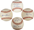 Autographs:Baseballs, Hall of Famers Single Signed Baseballs Lot of 4....