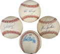 Autographs:Baseballs, Hall of Fame Pitchers Single Signed Baseballs Lot of 4....