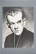 Movie/TV Memorabilia:Original Art, Boris Karloff Black Cat Sketch by Tomy Sansevero. ...