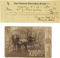 Photography:Cabinet Photos, Pawnee Bill Association Cabinet Card and Signed Check....