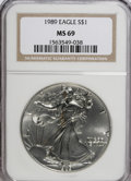 Modern Bullion Coins: , 1989 $1 Silver Eagle MS69 NGC. NGC Census: (68711/280). PCGS Population (3156/0). Mintage: 5,203,327. Numismedia Wsl. Price...