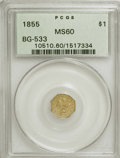 California Fractional Gold: , 1855 $1 Liberty Octagonal 1 Dollar, BG-533, Low R.4, MS60 PCGS.PCGS Population (2/31). NGC Census: (0/7). (#10510)...