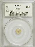California Fractional Gold: , Undated 25C Liberty Round 25 Cents, BG-223, Low R.4, MS62 PCGS.PCGS Population (42/53). NGC Census: (4/6). (#10408)...