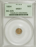 California Fractional Gold: , 1854 50C Liberty Octagonal 50 Cents, BG-305, Low R.4, MS61 PCGS.PCGS Population (8/71). NGC Census: (1/15). (#10425)...