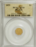California Fractional Gold: , 1855 $1 Liberty Octagonal 1 Dollar, BG-533, Low R.4, AU55 PCGS.PCGS Population (19/61). NGC Census: (0/10). (#10510)...