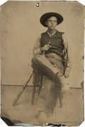 Photography:Tintypes, Sixth Plate Tintype of Armed Young Cowboy Wearing Fringed Leather Chaps....