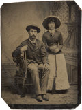 Photography:Tintypes, Sixth Plate Tintype of Armed Man and Woman....