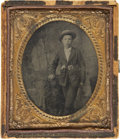 Photography:Tintypes, Sixth Plate Tintype of Young Boy Armed With a Revolver....