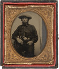 "Photography:Tintypes, Sixth Plate Tintype of Pipe-Smoking Man Wearing an Oval ""U.S.""Military Belt Plate...."