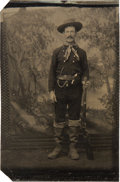 Photography:Tintypes, Quarter Plate Tintype of Well-Armed Cowboy....
