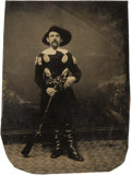 Photography:Tintypes, Sixth Plate Tintype of Well-Armed Dandy....