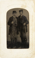 Photography:Tintypes, Sixth Plate Tintype of Two Well-Dressed Men With Percussion Rifles. . ...