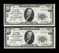 New London, CT - $10 1929 Ty. 2 The National Whaling Bank Ch. # 978 Two Examples