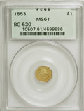 California Fractional Gold: , 1853 $1 Liberty Octagonal 1 Dollar, BG-530, R.2, MS61 PCGS. PCGSPopulation (27/51). NGC Census: (9/25). (#10507)...