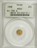 California Fractional Gold: , 1880 25C Indian Octagonal 25 Cents, BG-799W, High R.6, MS63 PCGS.PCGS Population (5/9). NGC Census: (0/1). (#10649)...